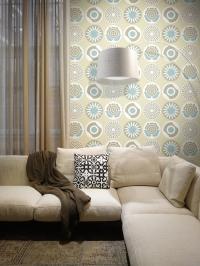 LAVMI behang Clocks blauw grijs beige wit bloemen en cirkels