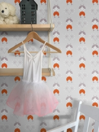 LAVMI wallpaper dolls on a grey background