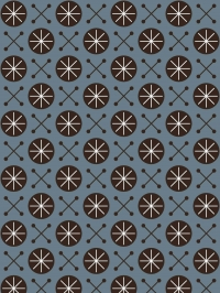 LAVMI behang Sky zwarte geometrische figuur op een blauwe achtergrond