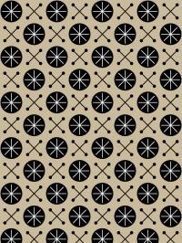 LAVMI behang Sky zwarte geometrische figuur op een beige achtergrond