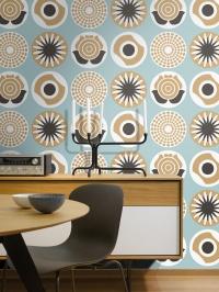 LAVMI behang Clocks blauw beige zwart wit bloemen en cirkels