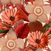 Luxebehang waterlelies taupe