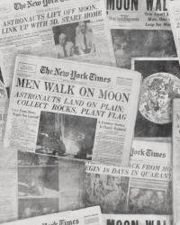 Krant man op de maan
