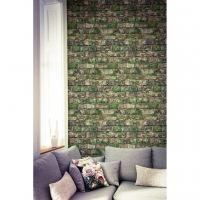 groen uitgeslagen oude bakstenen behang