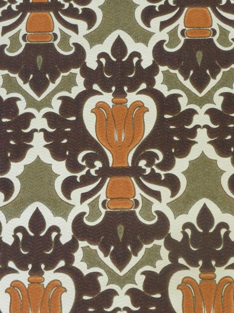 Oranje bruin groen medaillon behangpapier funkywalls d webshop voor vintage en modern behang - Kussen oranje en bruin ...