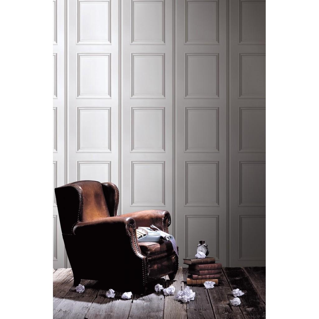 papier peint boiseries haussmann blanche funkywalls d. Black Bedroom Furniture Sets. Home Design Ideas