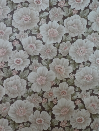 vintage bloemenbehang bruin roze