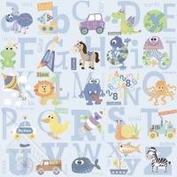 alfabet kindebehang blauw