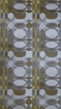 bruin geel geometrisch patroon vintage behang