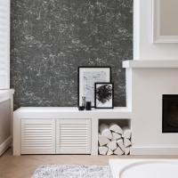 zwart-wit stenen imitatie behang
