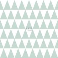 ESTA behang driehoeken wit muntgroen