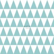 ESTA behang driehoeken wit turquoise