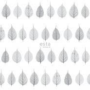 ESTA behang skelet bladeren grijs op een witte achtergrond