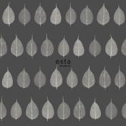 ESTA behang skelet bladeren beige op een grijze achtergrond