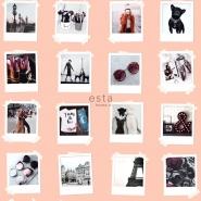ESTA behang polaroid foto's roze