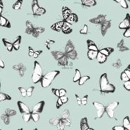 ESTA behang vlinders op een muntgroene achtergrond