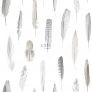 ESTA behang pluimen wit grijs beige