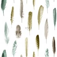 ESTA behang pluimen bruin en groen