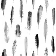 ESTA behang pluimen wit en zwart