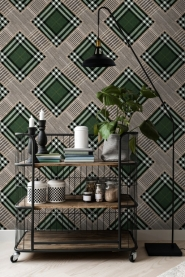 Luxebehang Patchwork groen