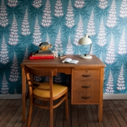 Miss Print wallpaper Foxglove Blue