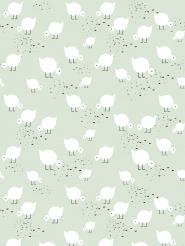 LAVMI behang witte vogelitjes op een groene achtergrond
