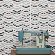 Miss Print behang Chevron Bluebird