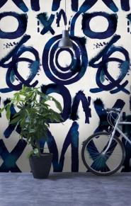 Luxebehang Spontaan blauw