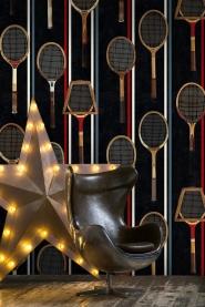 Tennisraketten behang zwart