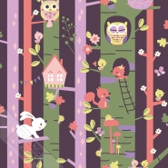 bush with owl and rabbit kids wallpaper