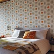 Orla Kiely behang Petal grijs oranje