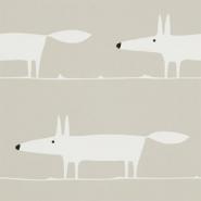 Scion Mr fox behang witte vos op beige achtergrond