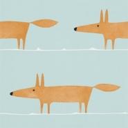 Scion Mr fox behang oranje vos op blauwe achtergrond