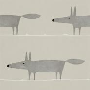 Scion Mr fox behang grijze vos op grijze achtergrond