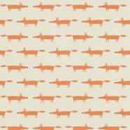 Scion Little fox behang oranje vos op beige achtergrond