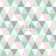 ESTA behang driehoeken groen grijs roze