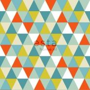 ESTA behang driehoeken turquoise rood