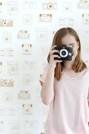 papier peint ESTA camera polaroid cuivre