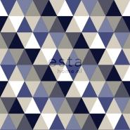 ESTA behang driehoeken blauw grijs beige