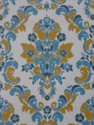 vintage medaillon behang blauw geel