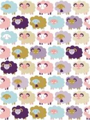 schapen kinderbehang LAVMI paars roze