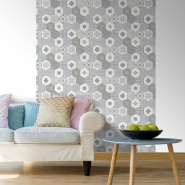 grijze tegels imitatie behang