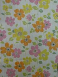 vintage bloemenbehang oranje roze geel