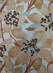 vintage bloemenbehang bruin turquoise