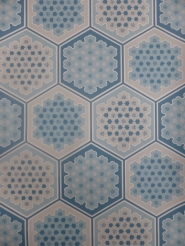 vintage geometric wallaper blue hexagons
