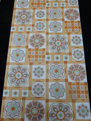 orange brown flowers in a geometric pattern