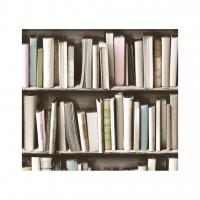 vintage boekenkast behang