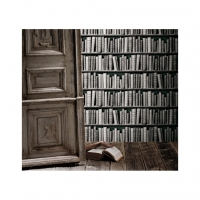 zwartwit boekenkast behang