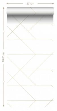 ESTA art deco behang wit en goud lijnenspel