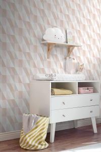 ESTA art deco wallpaper grey pink and beige triangles